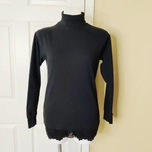 Meister black cotton turtleneck long sleeve top M